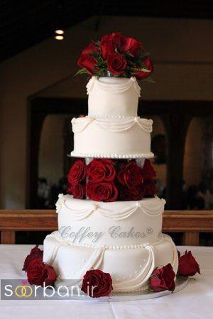 کیک عروسی با تزیین گل رز17