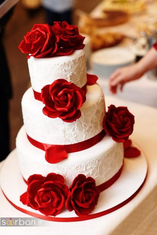 کیک عروسی با تزیین گل رز18