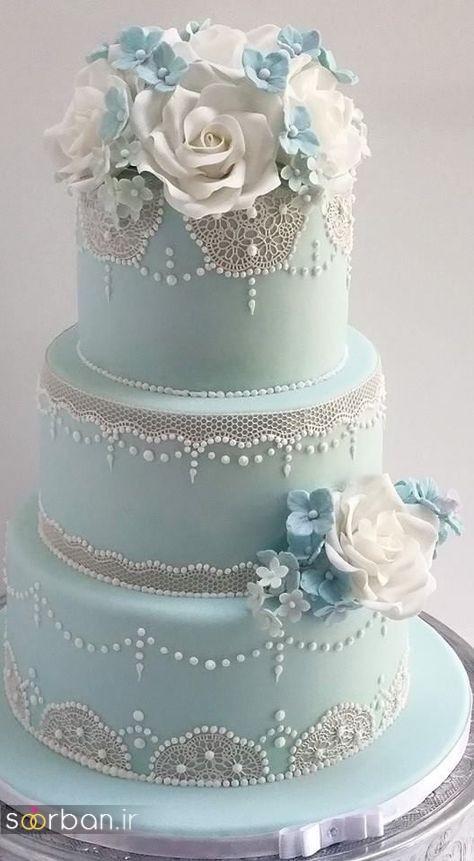 کیک عروسی با تزیین گل رز23
