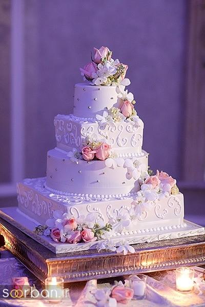 کیک های عروسی سفید بسیار شیک و رویایی