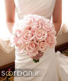 دسته گل عروس رز صورتی 14