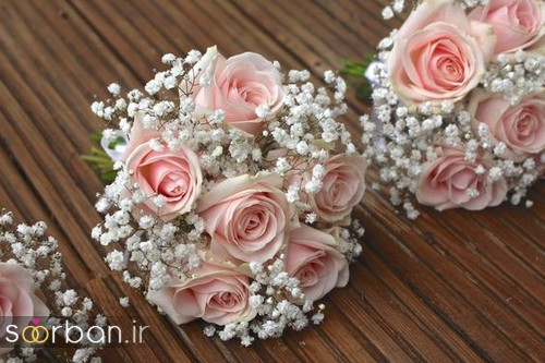 دسته گل عروس رز صورتی 8