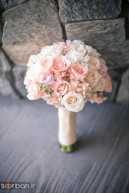 دسته گل عروس رز صورتی 10
