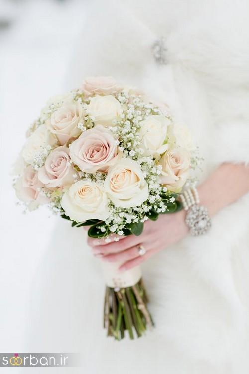 دسته گل عروس رز صورتی 11