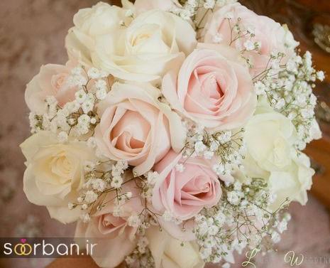 دسته گل عروس رز صورتی 12