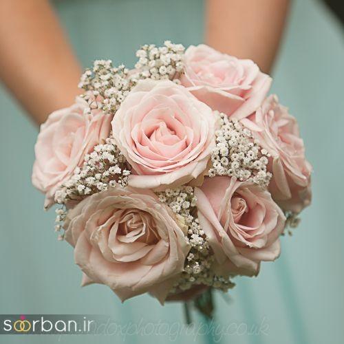 دسته گل عروس رز صورتی 19