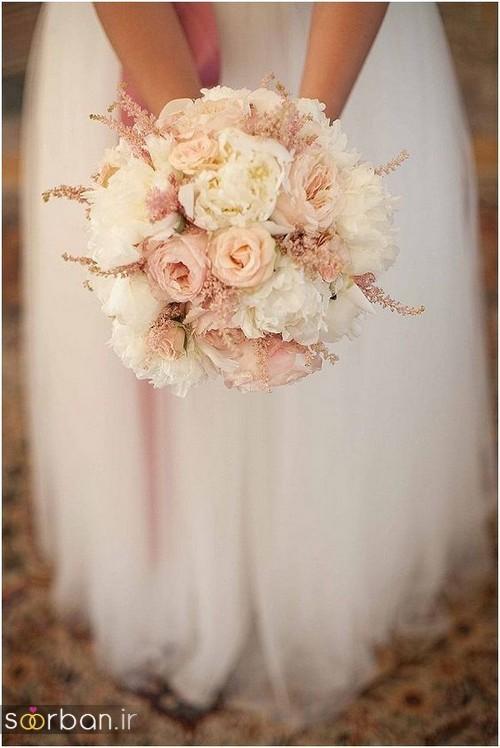 دسته گل عروس رز صورتی 18