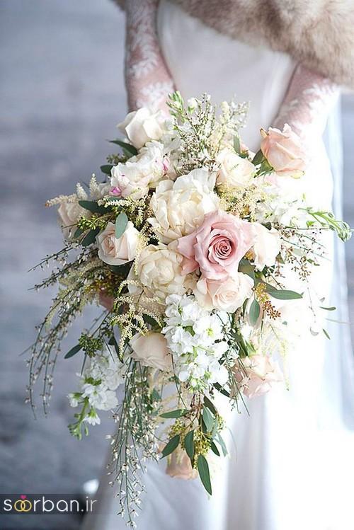 دسته گل عروس آبشاری زیبا و جدید9