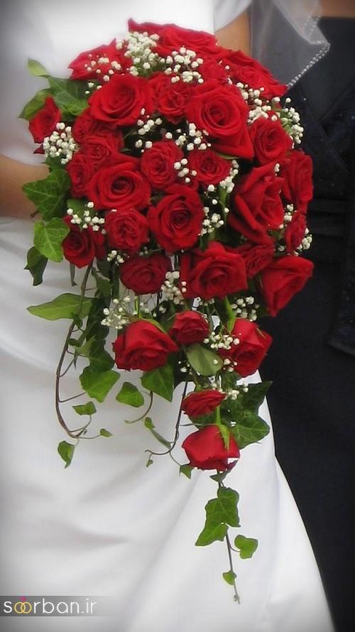 دسته گل عروس آبشاری زیبا و جدید19