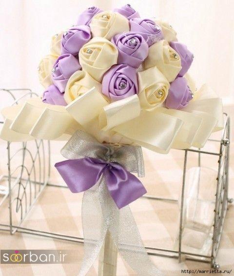 دسته گل عروس با روبان 1