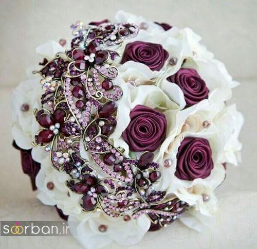 دسته گل عروس با روبان 14