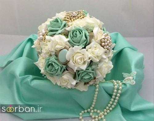 دسته گل عروس با روبان 2