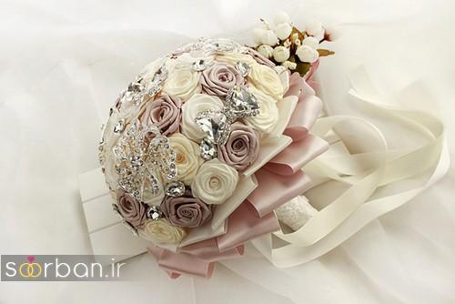 دسته گل عروس با روبان 4
