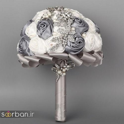 دسته گل عروس با روبان 07