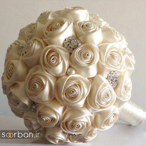 دسته گل عروس با روبان 8