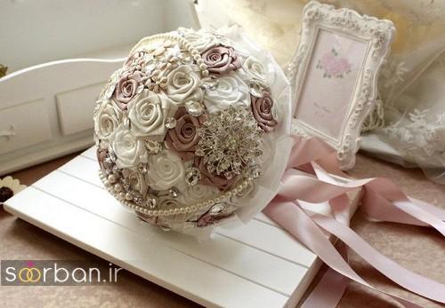 دسته گل عروس با روبان 13