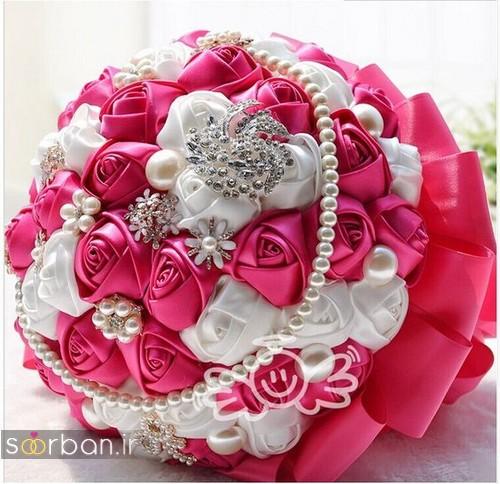 دسته گل عروس با روبان 19