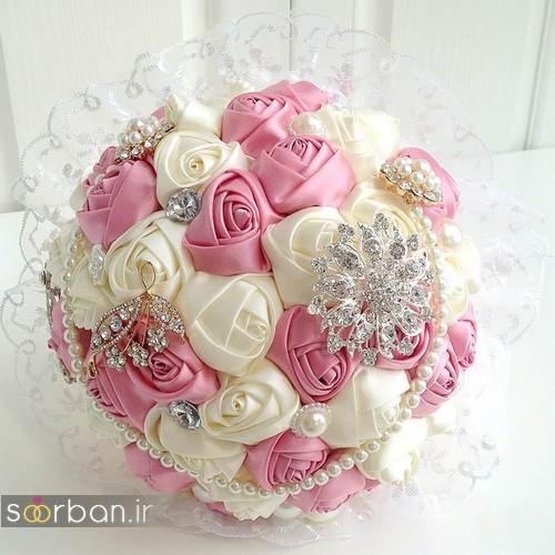 دسته گل عروس با روبان 21