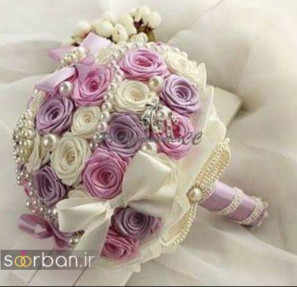دسته گل عروس با روبان 23