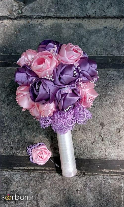 دسته گل عروس با روبان 29