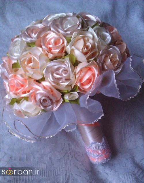 دسته گل عروس با روبان 33