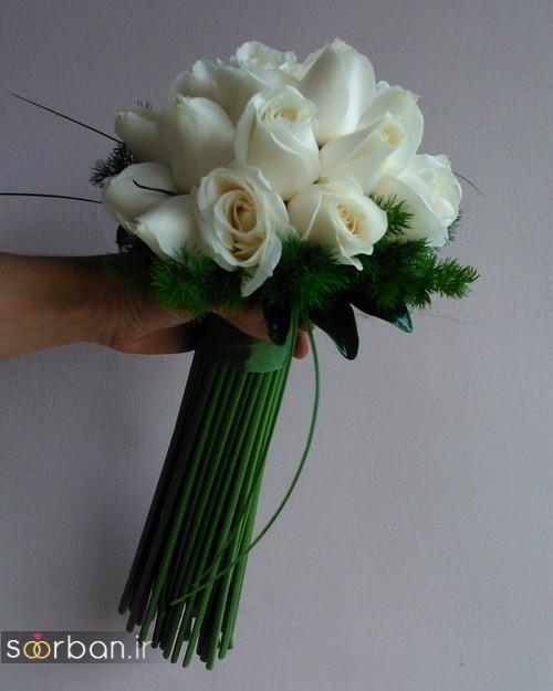 دسته گل عروس جدید ایرانی 98 با رز سفید