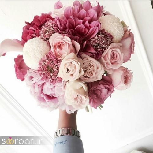 دسته گل عروس جدید ایرانی 98 صورتی