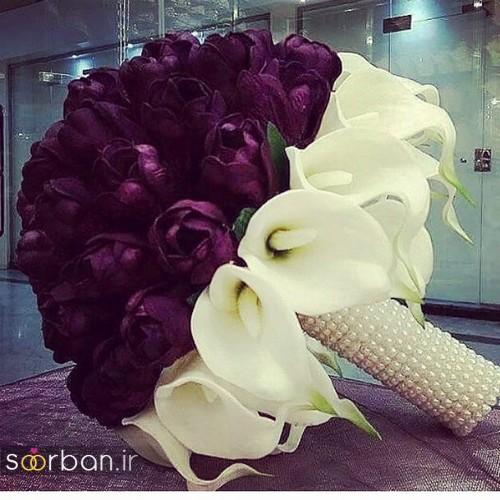 دسته گل عروس جدید ایرانی 98 بنفش با گل شیپوری
