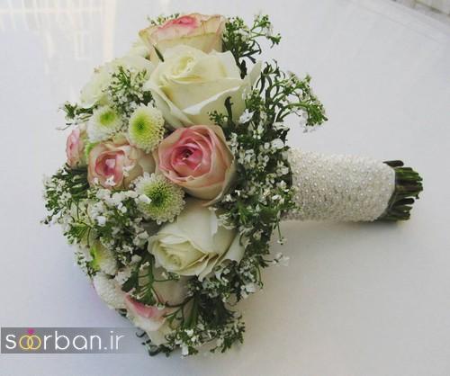 مدل دسته گل عروس جدید ایرانی 98 با بند مروارید