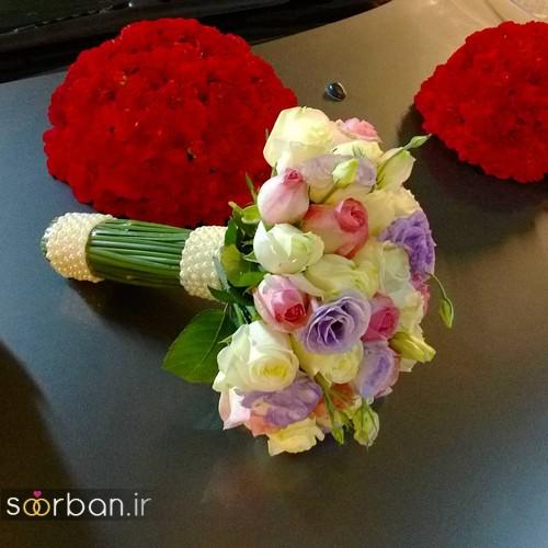 دسته گل عروس جدید ایرانی 98 با رنگ های قرمز و بنفش