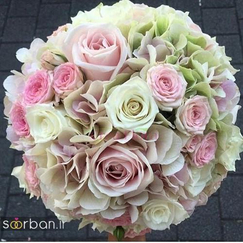 دسته گل عروس جدید ایرانی 98 با گل صورتی و زرد