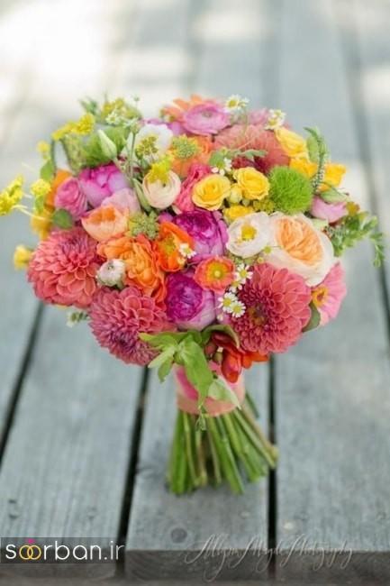 دسته گل عروس رنگارنگ و شاد جدید شیک و مدرن بسیار زیبا