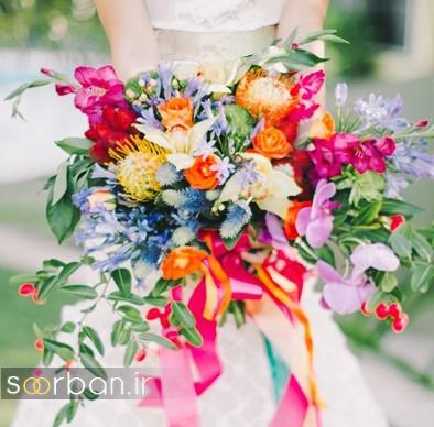 دسته گل عروس رنگارنگ و شاد جدید شیک و مدرن - 2017