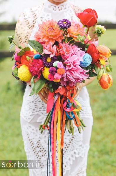 مدل دسته گل عروس رنگارنگ و شاد جدید شیک و مدرن