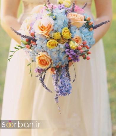 دسته گل عروس رنگارنگ و شاد جدید شیک و مدرن