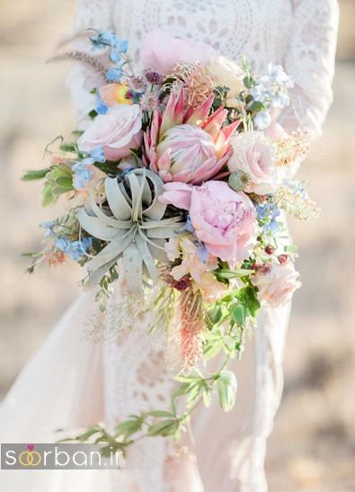 دسته گل عروس رنگارنگ و شاد جدید شیک و مدرن خوشگل