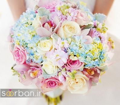 دسته گل عروس رنگارنگ و شاد جدید شیک و مدرن 2017