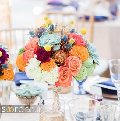 دسته گل عروس رنگارنگ و شاد جدید شیک و مدرن متفاوت
