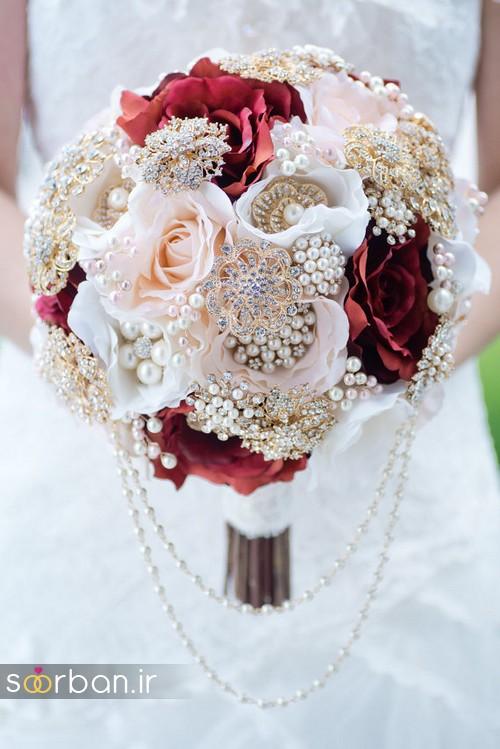 دسته گل عروس با مروارید12