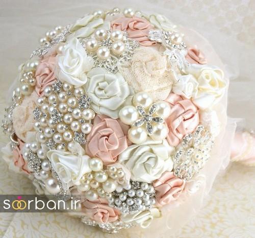 دسته گل عروس با مروارید4