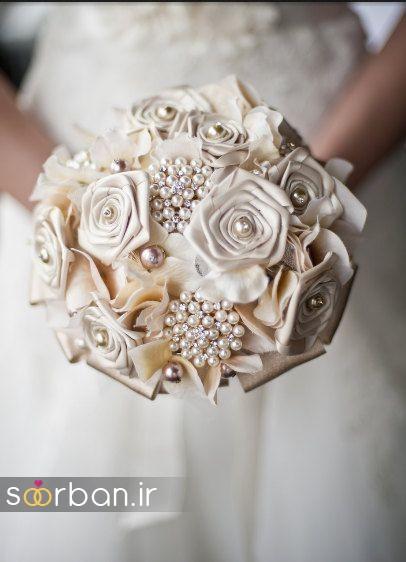 دسته گل عروس با مروارید6