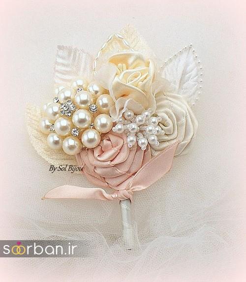 دسته گل عروس با مروارید8