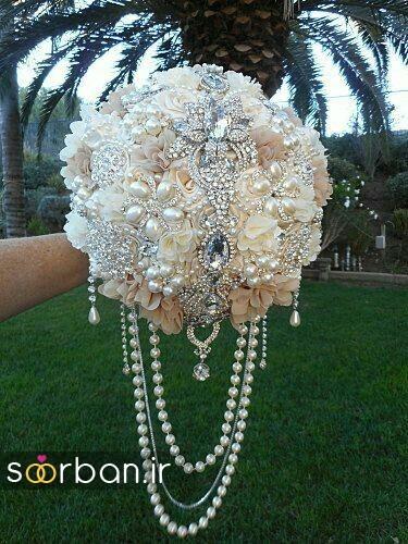 دسته گل عروس با مروارید16