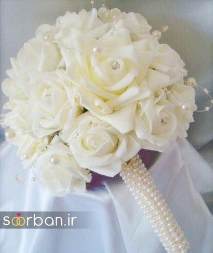 دسته گل عروس با مروارید17