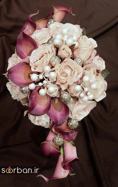 دسته گل عروس با مروارید18