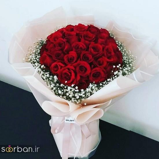 مدل دسته گل رز قرمز جدید-21