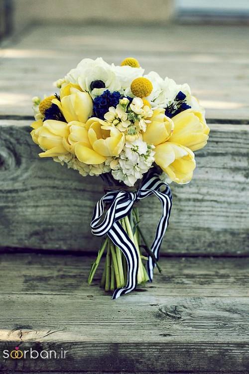 دسته گل عروس زرد جدید 4