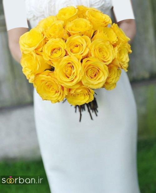 دسته گل عروس زرد جدید 9