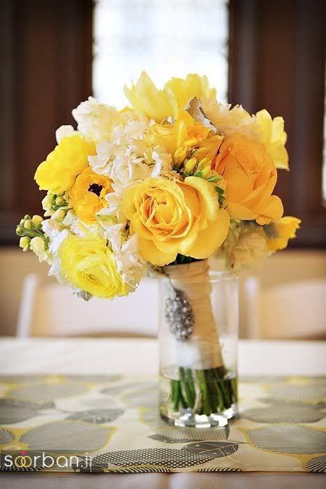 دسته گل عروس زرد جدید 11