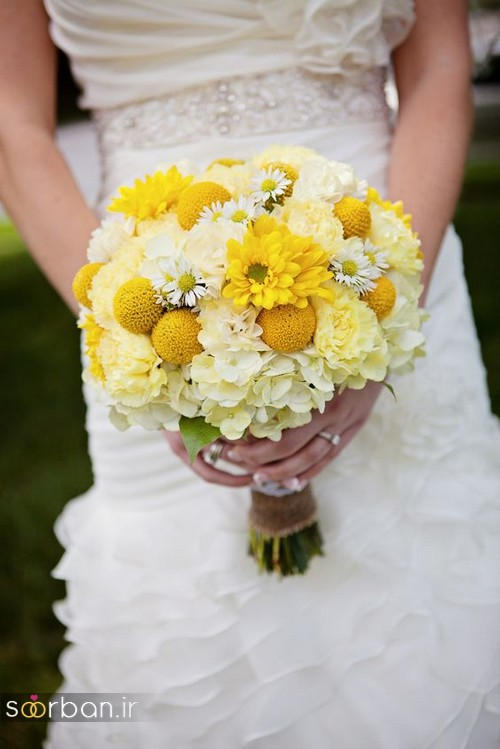 دسته گل عروس زرد جدید 19